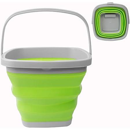 Seau à eau pliable de 10 L, carré et rond en silicone pour le camping, la pêche, les voyages, le lavage de voiture (carré vert)