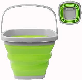 Seau à eau pliable de 10 L, carré et rond en silicone pour le camping, la pêche, les voyages, le lavage de voiture (carré ...