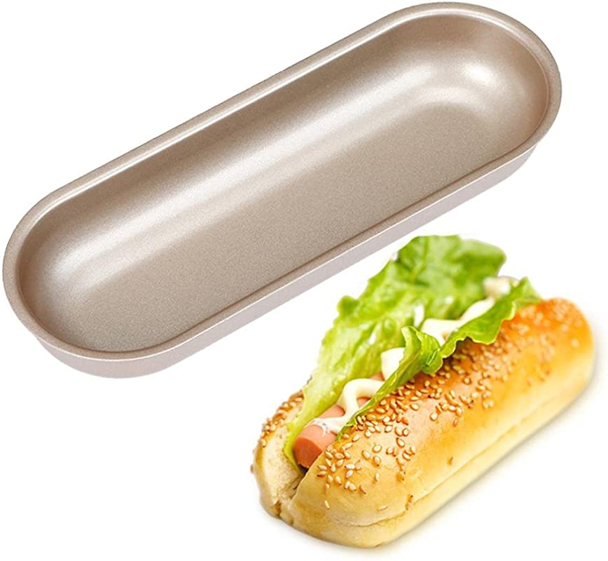 Hot Dog Mold Sacow Hot Dog Bun Pan Hotdog Bread Mould Non Stick Bakeware 7 Inch Oval Cake Mold