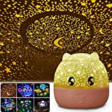 WINICE Projector Night Light,Sea World Starry Sky Rotating LED Star Projector Lamp for Bedroom, Night Color Moon Lamp for Baby Kids Children Teens Adults - 6 Sets of Film (Pink Pig)