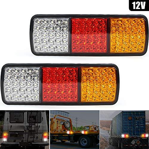 12 V LED-Rücklicht-Kontrollleuchte, 75 LEDs, für LKW, Anhänger, Fahrtrichtungsanzeiger, Bremslicht, Rücklicht, Rücklicht, für LKW, Boot, Anhänger, Pickup, Wohnmobil, UTE, Vans (2 Stück)
