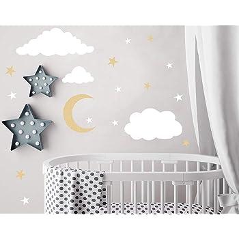 Amazon.com: Easu Clouds Sky Wall Vinyl Wall Decals Moon And Stars Wall Decal Kids Baby Room Decoration Good Night Nursery Wall Decor