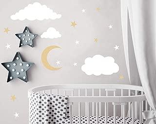 Easu Clouds Sky Wall Vinyl Wall Decals Moon and Stars Wall Decal Kids Baby Room Decoration Good Night Nursery Wall Decor