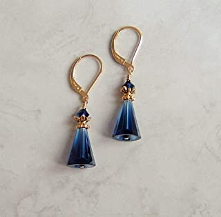 Dark Navy Blue Cone Crystal Gold Filled Leverback Earrings Simulated Sapphire Gift Idea