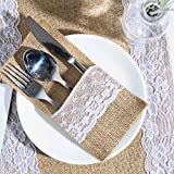 ARKSU Burlap Lace Utensil Holders 50 Packs Silverware Cutlery Pouch Knifes Forks Bag for Vintage Natural Wedding