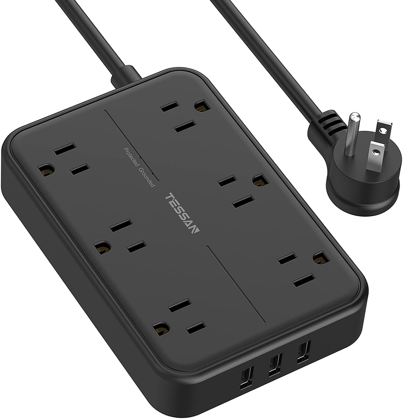Surge Protector Power Strip with USB, TESSAN 6 Widely Spaced AC Outlets and 3 USB Charging Ports 5Ft Extension Cord, Flat Plug Wall Mount for Home, Dorm Room, Office and More, Black