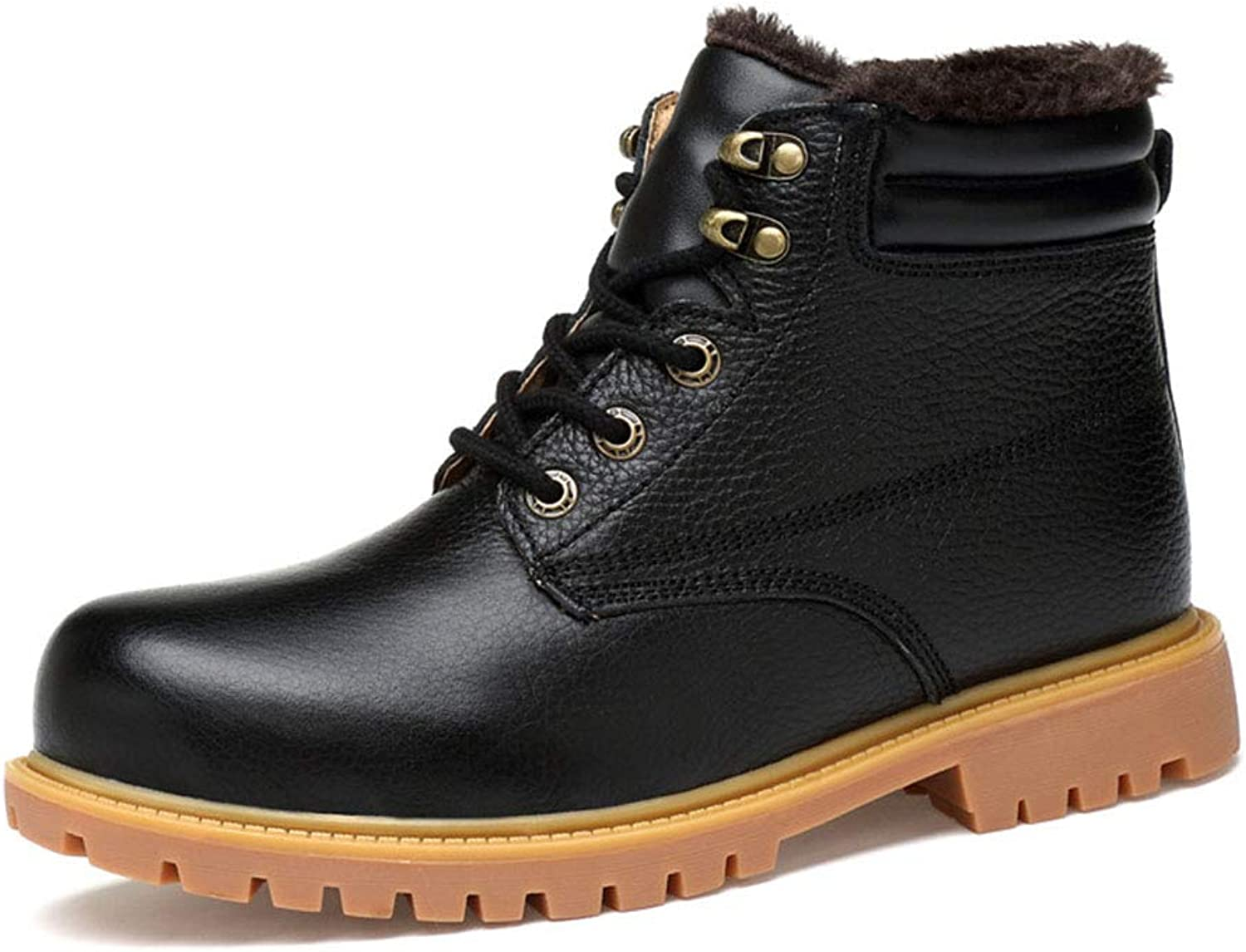 Men's shoes, Fall Winter New Leather High-Top Casual Plus Velvet Warm Cotton shoes Business Non-Slip Wear-Resistant Martin Boots,B,45