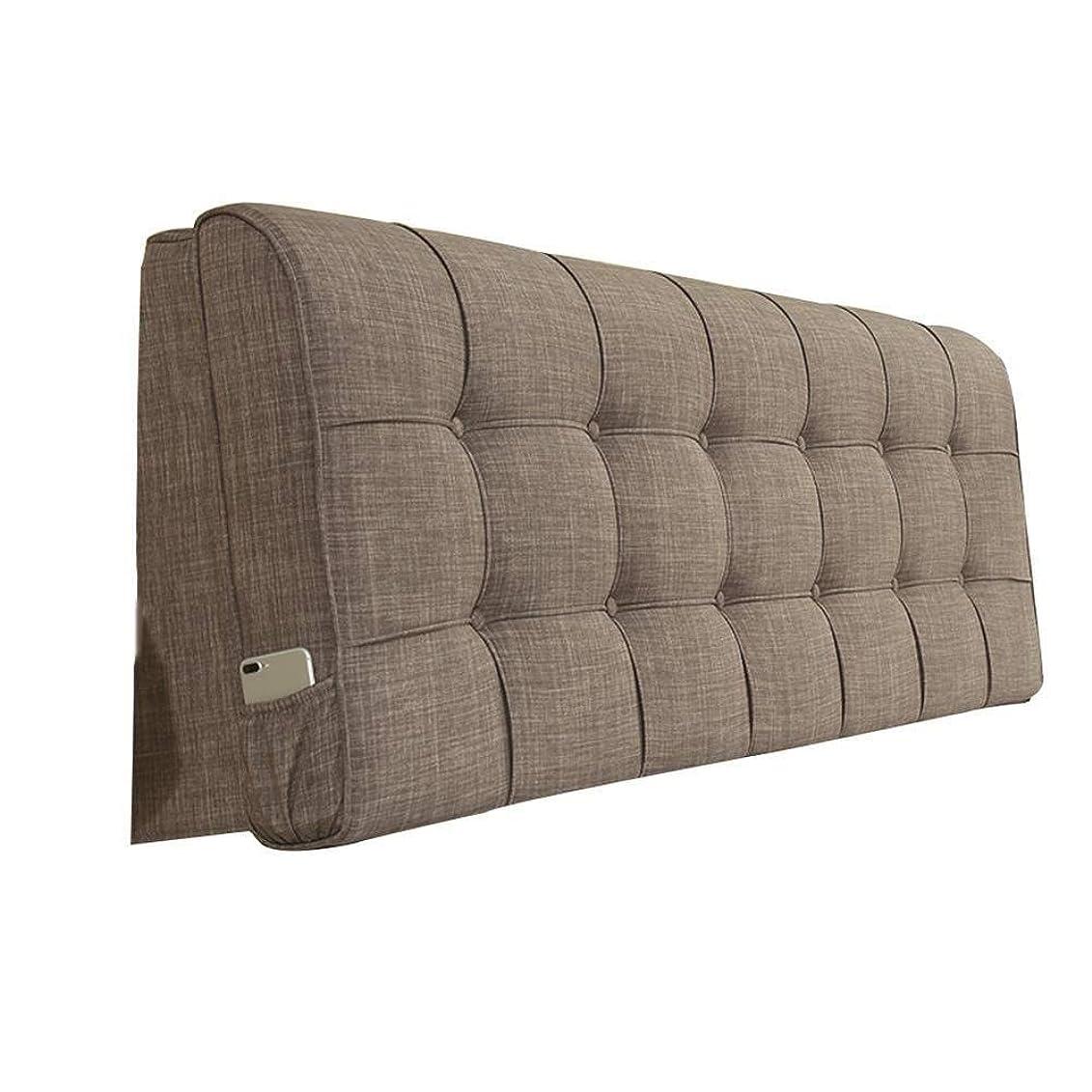 リアルガロンファッションNJYT ベッドのあと振れ止めのクッションの枕元の亜麻の大きいあと振れ止めの帯電防止取り外し可能および洗濯できる三次元ベッドのあと振れ止めの枕 (Color : Brown, Size : 90x10x58cm)