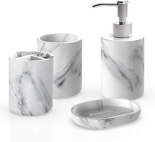 ست لوازم جانبی حمام Heylian ، مجموعه حمام 4 قطعه ، مجموعه حمام مجموعه پمپ دیسپنسر صابون الگوی مرمر ، نگهدارنده مسواک ، منبر ، ظرف صابون