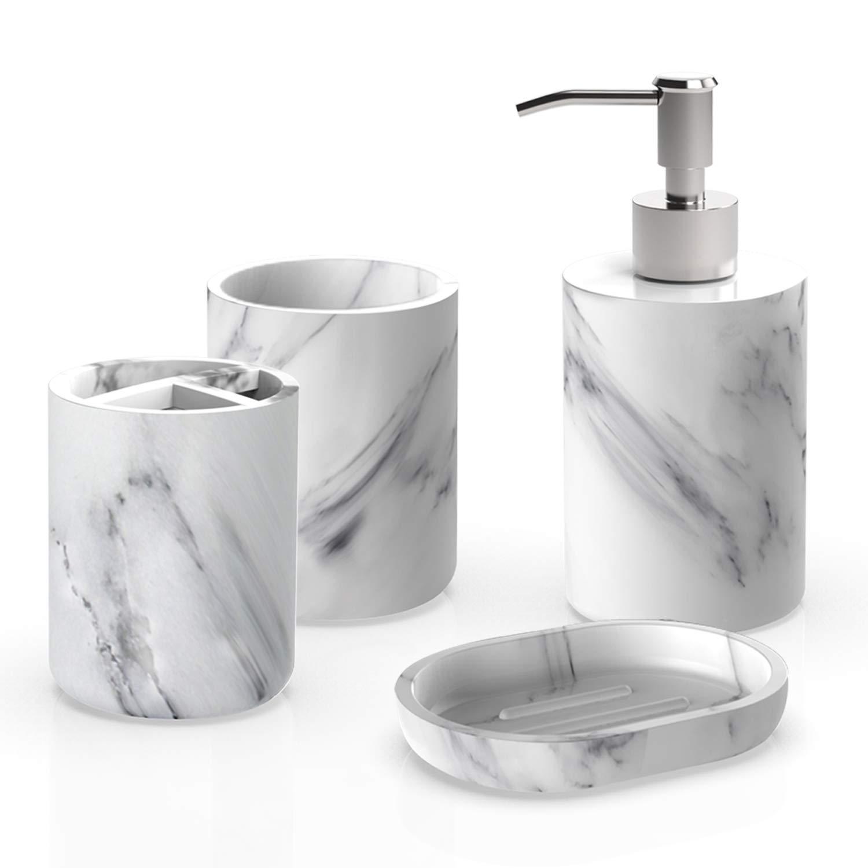 Heylian Bathroom Accessories Set 3-Piece, Marble Pettern Soap Dispenser,  Toothbrush Holder, Tumbler, Soap Dish