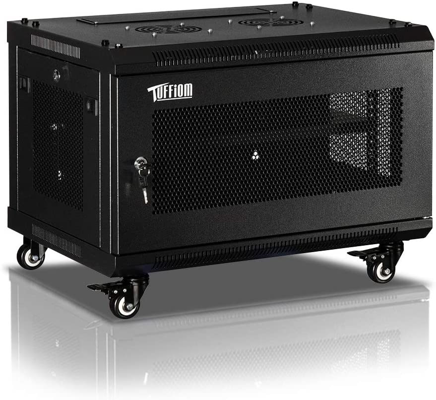 TUFFIOM 6U Casters Network Cabinet Enclosure, Wall Mount Rack w/Wheels, Deluxe 19 inch IT Series Server Data Devices Storage (Fully Assembled, Cooling Fan, Locked Door, Adjustable Mounting Rails)
