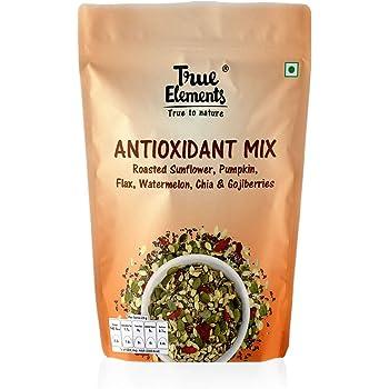 True Elements Antioxidant Seeds Mix - Roasted Sunflower, Pumpkin, Flax, Watermelon, Chia with Goji Berries 125gm - High in Protein