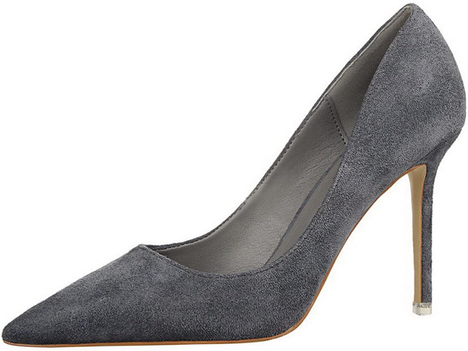 WeiPoot Women's Closed-Toe High-Heels Imitated Suede Solid Pull-On Pumps-shoes