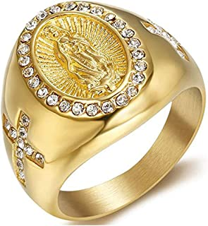 JAJAFOOK Men's Gold Plating Cubic Zirconia Our Lady of Guadalupe Virgin Mary Ring Religious Ring Size 8-12