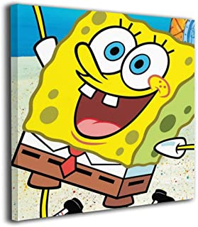 Marcus Roberta Sponge-Bob Squarepants Painted On Canvas Wall for Office Home Decor Pictures Modern Artwork Hanging for Living Room Decorations Ready to Hang Framed Paintings