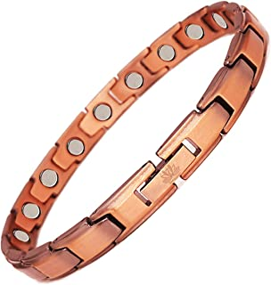 DearShiny 99.9% Pure Copper Bracelet Magnetic Therapy Jewelry 3500 Gauss Magnets for Women Men Benefits Arthritis Pain Relief + Hematite Beads Health Wristband Bonus