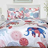 Nimsay Home Elephant - Juego de funda de edredón (100% algodón), algodón, multicolor, matrimonio