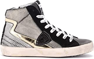 Philippe Model Woman's Paris High-top Sneaker Made of Anthracite-Colored Laminated Pony