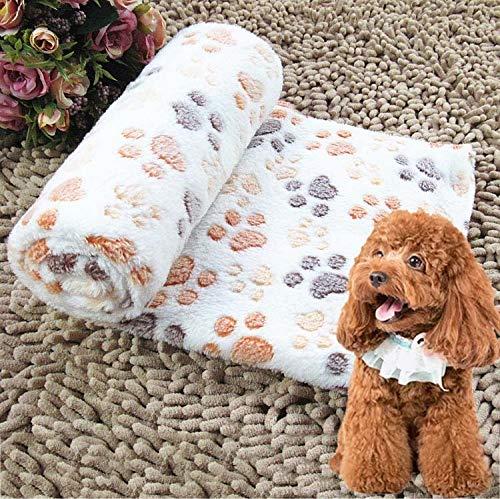 Kreative Hundehütte Mat Abdrücke Muster Thick Warm Coral Fleece Pet Hundedecken, Größe: L, 80 * 100cm Huangchuxin (Color : Beige)