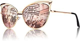 GQUEEN Lunettes de soleil Twin-Beams polarisé Oeil de Chat Fashion Mode Classique cateye Miroir Réfléchissantes cadre Méta...