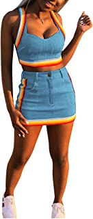 Ophestin Women Sleeveless Denim Rainbow Stripe Tank Crop Top Short Skirts Set 2 Piece Mini Dress