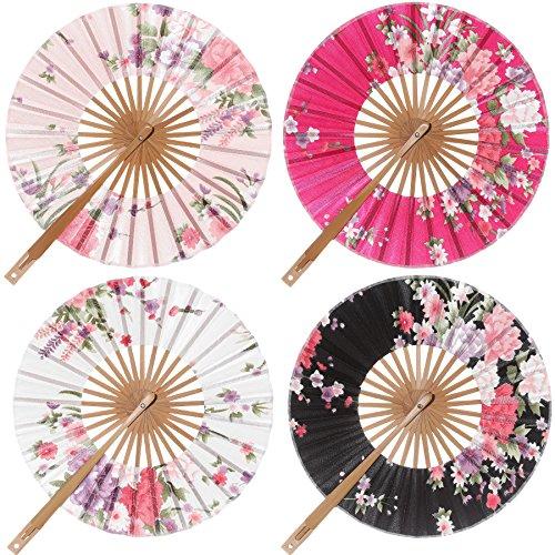 ArtiDeco 4 abancos de mano de seda plegable de estilo japonés vintage con diferentes patrones, abanico plegable para decoración de bodas o fiestas (redondo)
