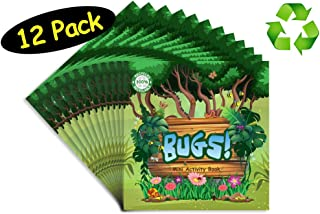 Insect Bugs Animals Party Favors Mini Activity Books // 100% Recycled Paper Full Color // 12-pack, 4.75 x 4.75 inches