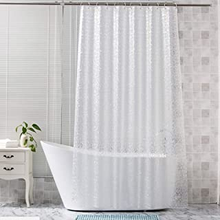 Glass Shower Curtains Shower Curtain Liner SGS Certified 100% Safety EVA Material Water Resistant with Hooks ABClife (71x71 inches)