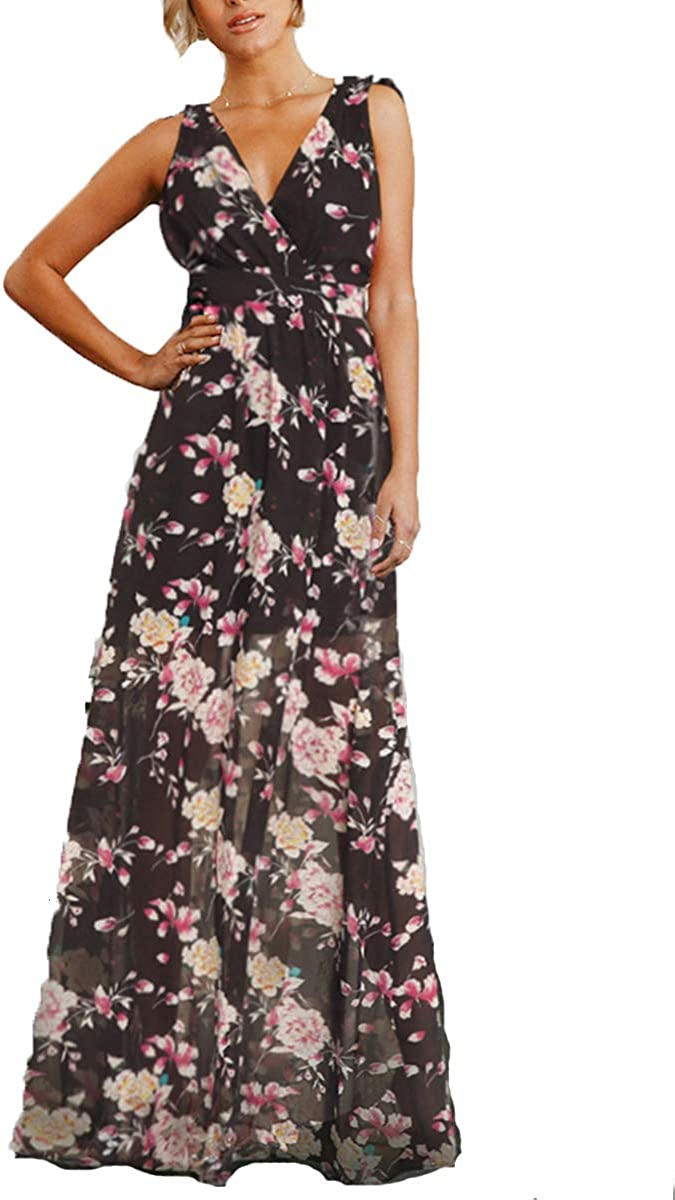 FeelinGirl Women's V Neck Backless Floral Print Casual Maxi Dress Bohemian Long Dress S-2XL