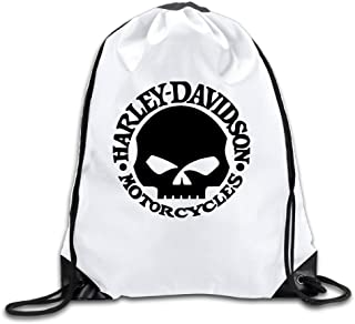 Harley Davidson Logo Skull Drawstring Backpack Sack Bag/Travel Bag