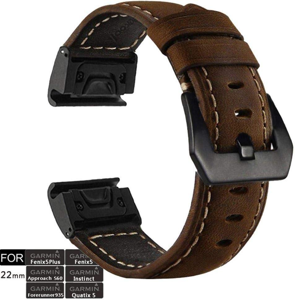 Fenix 5x Garmin Fenix 6x Forerunner 935 Fenix 5 Plus Tactix Vintage Style Leather Soft Strap Fenix 3HR Approach S60 Fenix 3 Quatix