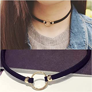 Olbye Gold Circle Choker Necklace Minimal Black Leather Necklace Jewelry for Women and Girls Simple Minimalist Necklace (Black leather with circle)