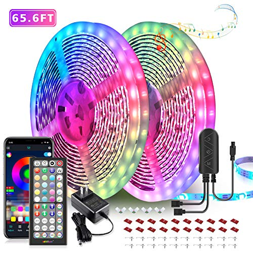 65.6ft LED Strip Lights, Ultra-Long LED Lights Strip Music Sync, App Control with Remote, 600LEDs RGB LED Lights for Bedroom, DIY Color Options LED Tape Lights for Bedroom Ceiling Under The Cabinet
