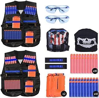2 Sets Kids Tactical Vest Kit, Kids Elite Tactical Vest Kit For Nerf N-strike Elite Series,2 Pack Jacket with 2 Wrist Band...