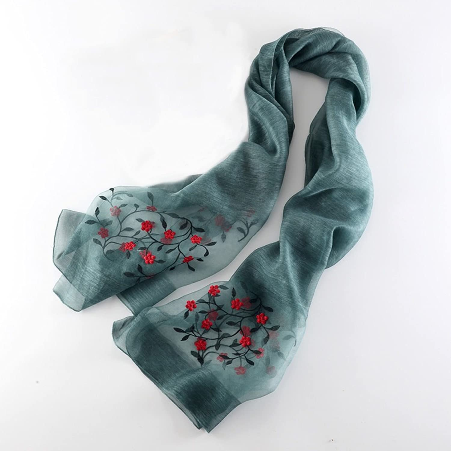 LBY Silk Wool Scarf, Silk Embroidered Embroidered Shawl, Solid color, Warm Winter Scarf Scarf (color   C)