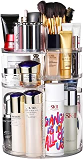 Jerrybox 360 Degree Rotation Makeup Organizer Adjustable Multi-Function Cosmetic Storage Box, Large Capacity, Fits Toner, Creams, Makeup Brushes, Lipsticks and More