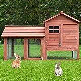 zooprinz Perfekter Kleintierstall - aus robustem massiven Vollholz - optimal für draußen - einfach zu reinigen Dank der Kotschublade - Hasenstall mit ungiftiger Farbe gestrichen (braun)
