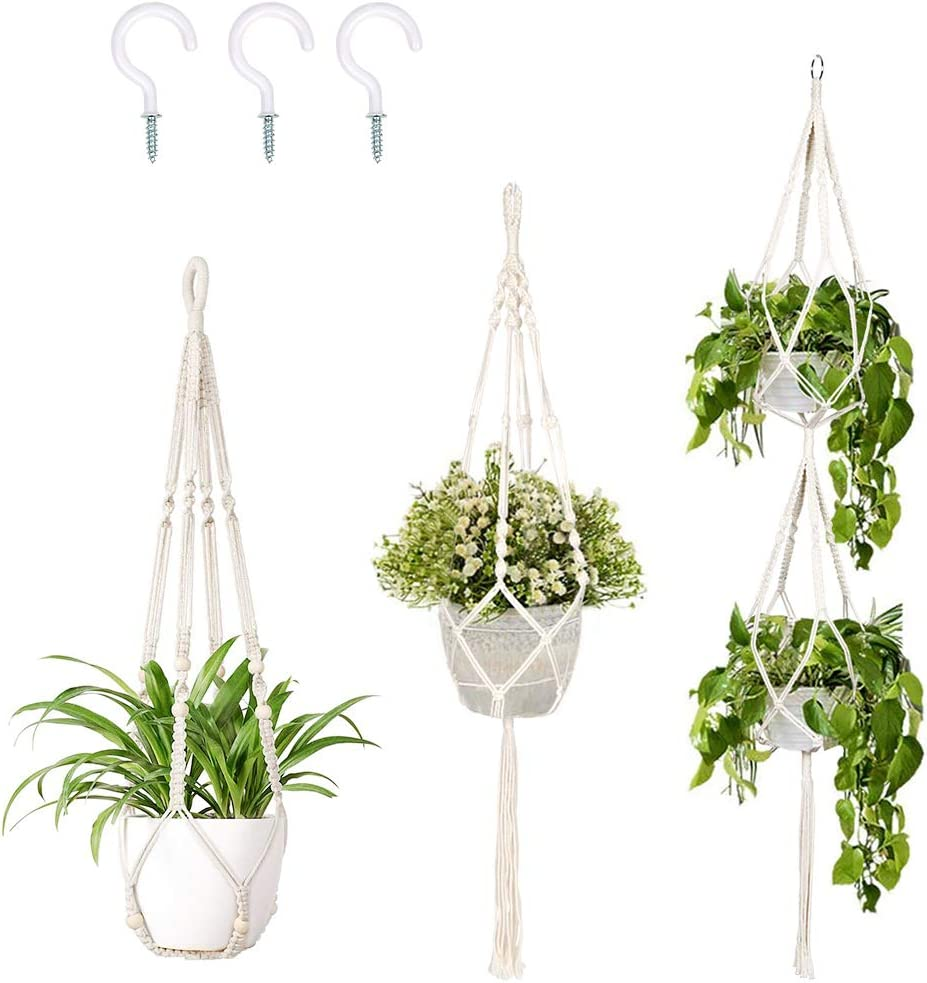 OurWarm 3 Pack Macrame Plant Hanger Indoor Outdoor Hanging Plant Holder with 3pcs Hooks, Handmade Cotton Hanging Planter Basket Stand Flower Pot Holder for Bohemian Wall Home Decor(4 Legs, 3 Sizes)