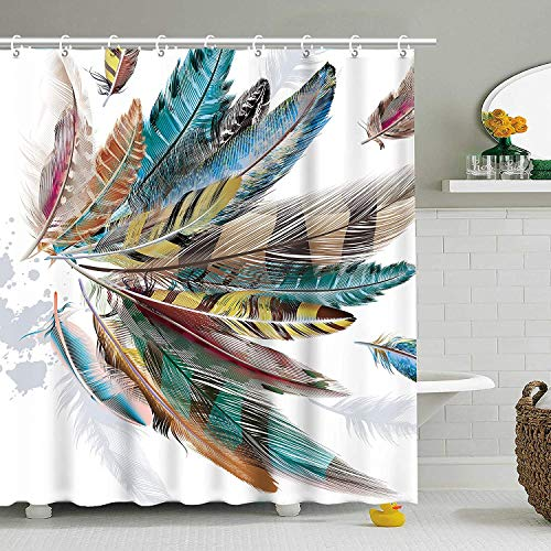 RosieLily Bird Feather Shower Curtain Teal Brown Turquoise Feather Bathroom Curtain Modern Colorful Animal Feather Shower Curtain with Hooks Hummingbird Shower Curtain (Teal, 72x72)