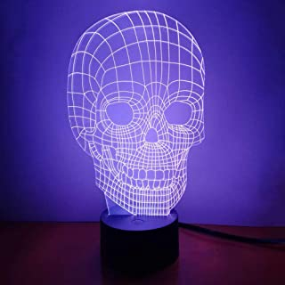 Skull 3D Night Light LED Illusion Lamp Bedside Desk Table Lamp, Loveboat 7 Color Changing Lights with Acrylic Flat & ABS Base & USB Charger as Home Decor and A Best Gift