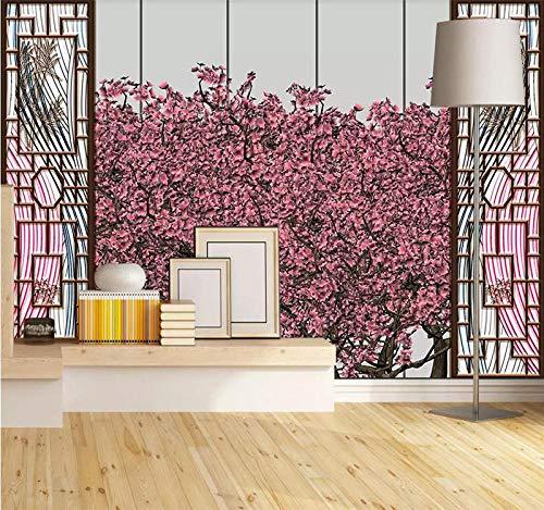 HDDNZH muurschildering op maat, 3D grote muurschildering behang Hd Fris rood hout raam landschap TV sofa achtergrond muur kantoor woonkamer huis decoratie 290cm(H)×480cm(W)