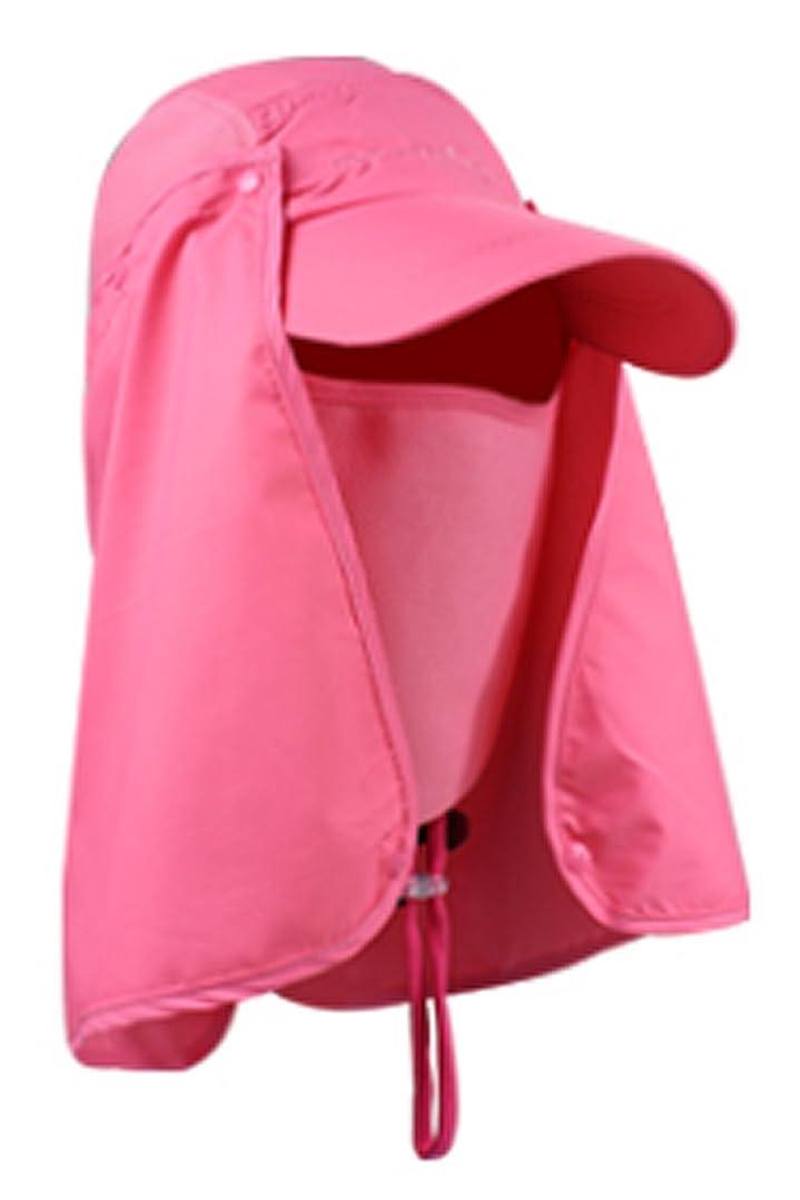 大理石ハウジング歪めるyasushoji 紫外線対策に UVカット帽子 取り外し可能な日よけ付き カバー 顔 首元 首筋 頭 目 耳 (ローズ)