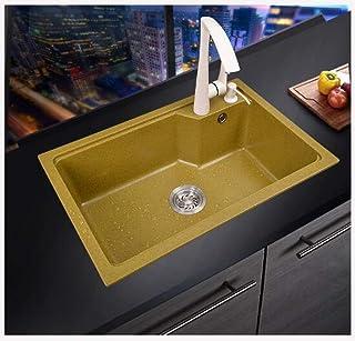 Wisdom Quartz Stone Sink Single Bowl Sink Sink Sink Granite Hand-Square Kitchen Sink & Amazon.com: Gold - Kitchen Sinks / Kitchen u0026 Bar Sinks: Tools u0026 Home ...