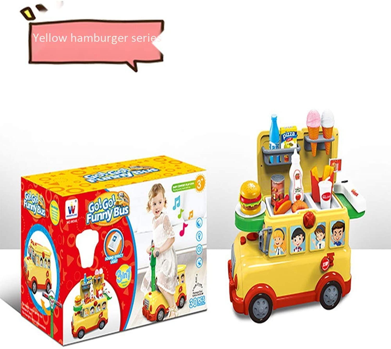 Ayy Haus wechselbarer Babywagen 3 in 1 Multifunktionsspeicher Schule Bus Kinder Geburtstagsgeschenk Spielzeug 3-7 Jahre alt,Gelb