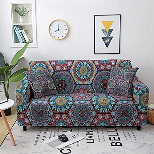 ASCV Stretch soffskydd soffhandduk för vardagsrum bohemisk mandala mönster möbler skyddande fåtölj soffor överdrag A1 3-sits