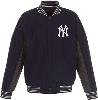 New York Yankees MLB Navy Charcoal Wool Reversible Full Snap Jacket