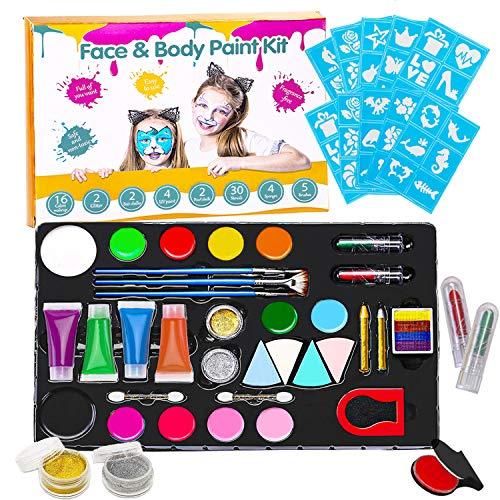 Truccabimbi Kit per Bambini, Trucchi per Truccabimbi, Body Painting Colori Trucco Viso, Trucchi Bambina Anallergici per Halloween, Carnevale, Cosplay, Festa di Compleanno, Oltre 5 Anni