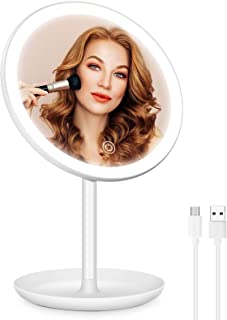 Professional Rechargeable Lighted Makeup Mirror, 3 Lighting Modes Led Makeup Mirror, Dimmable Makeup Mirror with Lights, L...