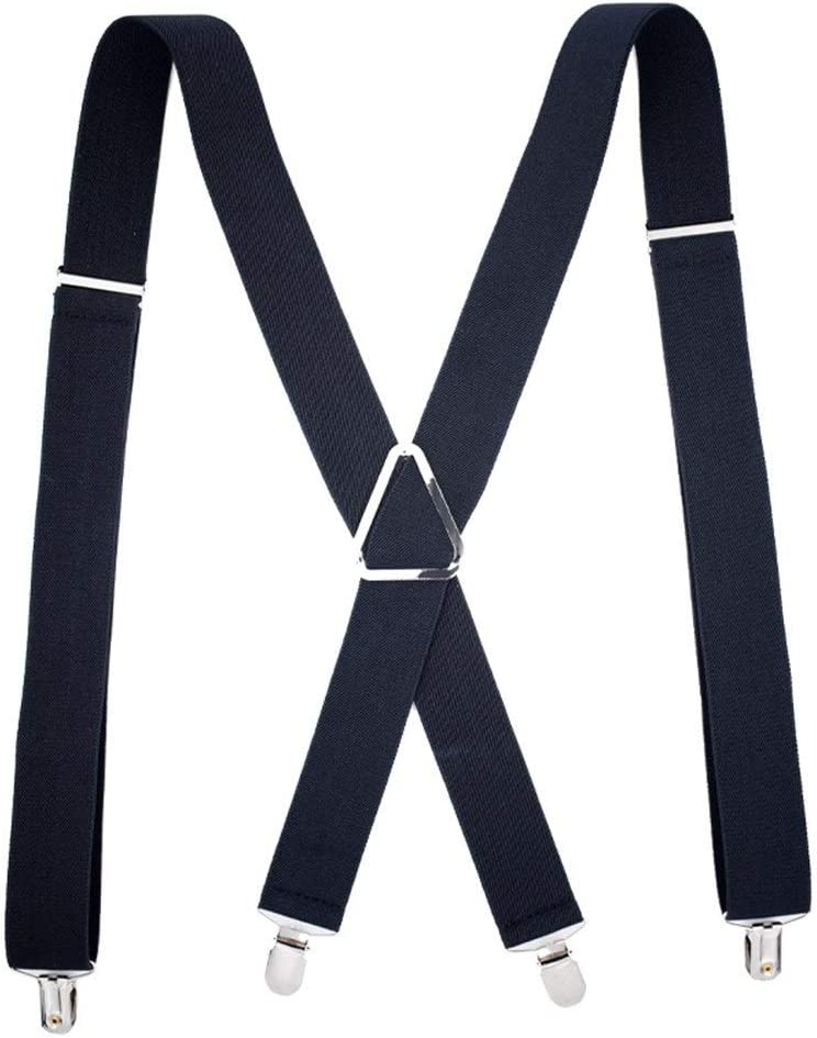 ZYDP X Back Suspenders for Men, with Heavy Duty Clips Wide Adjustable Elastic Braces for Casual&Fomal (Color : Black)