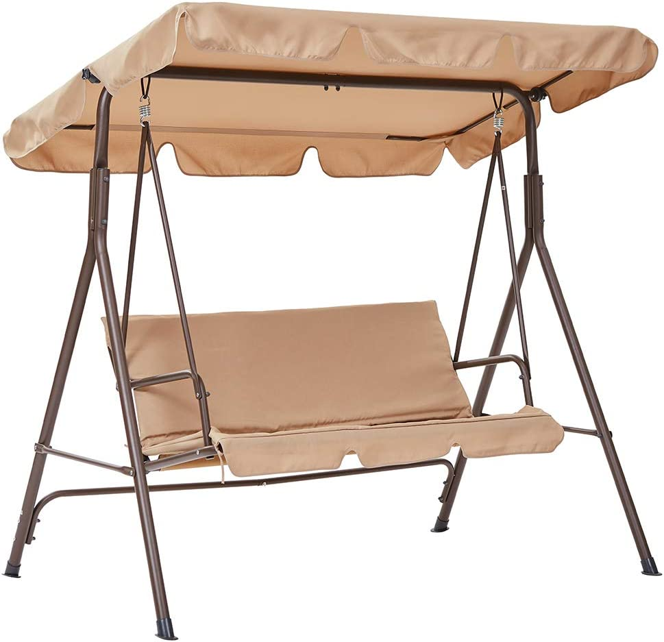 SUPERJARE 3 Person Outdoor Converting Patio Swing, Porch Swing with Adjustable and Weatherproof Tilt Canopy, Heavy Duty Hammock - Tan